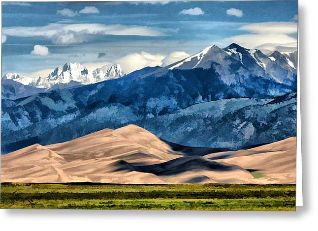 Greeting Card featuring the digital art Great Sand Dunes Summer by Brian Davis