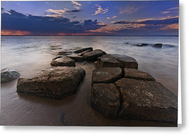 Great South Bay Sunset Greeting Card by Rick Berk