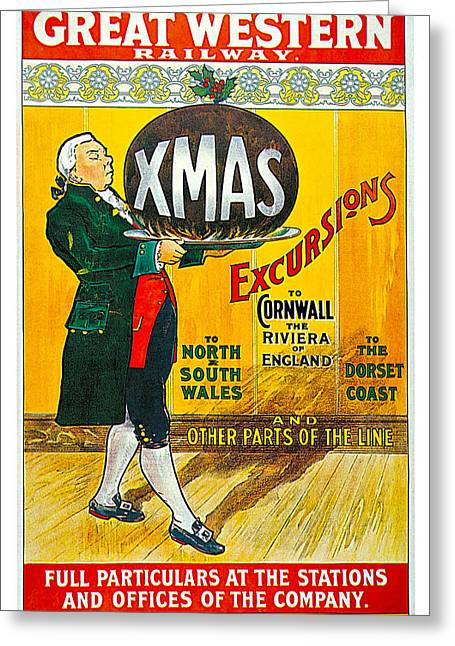 Great Western Railway Xmas Excursions Greeting Card by George Conning