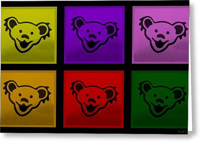 Greatful Dead Dancing Bears In Multi Colors Greeting Card