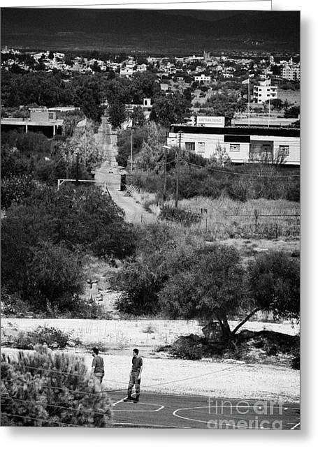 greek and turkish cypriot military border posts either side of the UN buffer zone in cyprus Greeting Card by Joe Fox