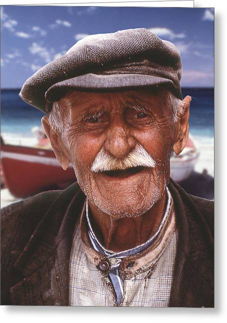 Greek Fisherman Greeting Card by Ron Schwager