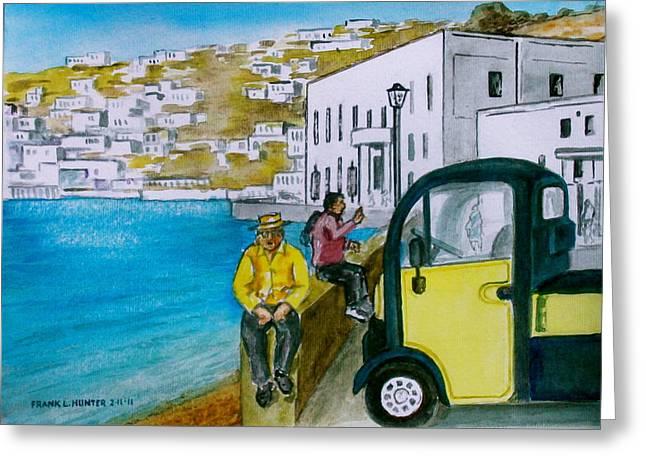 Greek Island Of Mykonis Greeting Card by Frank Hunter