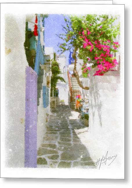 Greek Island Streetscene Greeting Card by Pavlos Vlachos