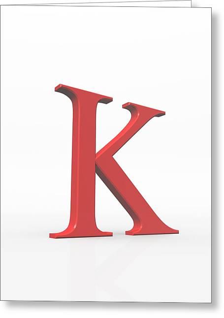 Greek Letter Kappa, Upper Case Greeting Card by David Parker