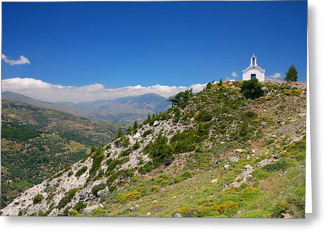 Greek Mountain Church Greeting Card by Paul Cowan