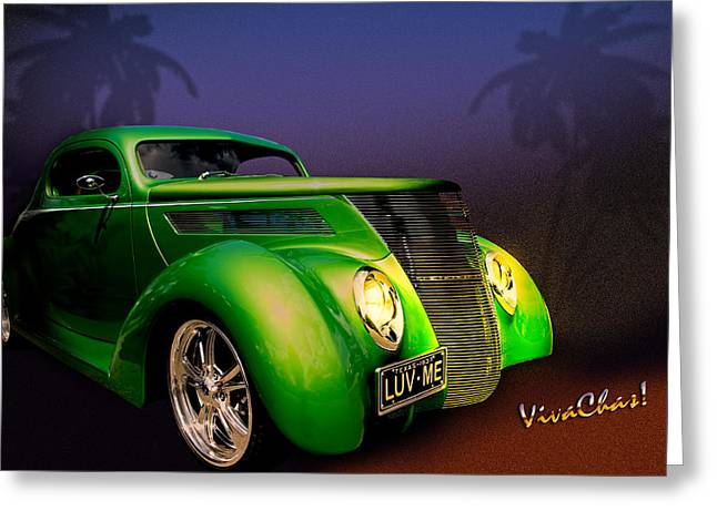 Green 37 Ford Hot Rod Decked Out For A Tropical Saint Patrick Day In South Texas Greeting Card by Chas Sinklier