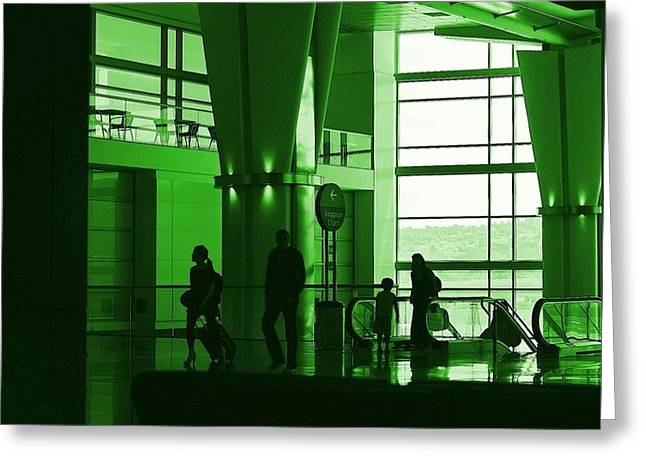 Green Airport Greeting Card by Ron Morales