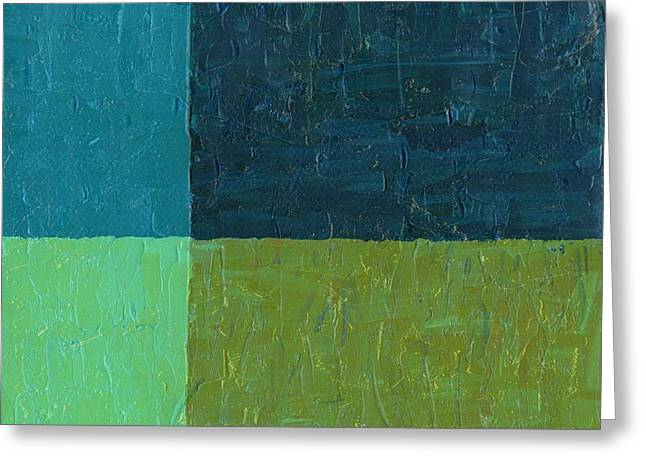 Green And Blue Greeting Card by Michelle Calkins