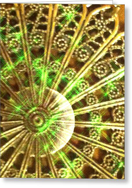 Green And Gold Greeting Card by Caryn Schulenberg