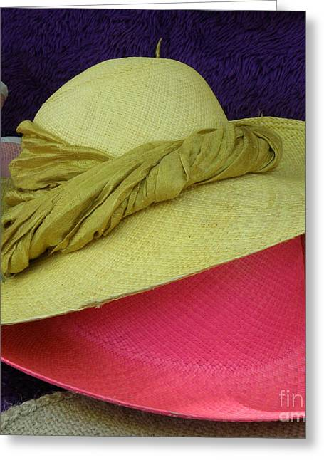 Green And Pink Hats Greeting Card by Lainie Wrightson