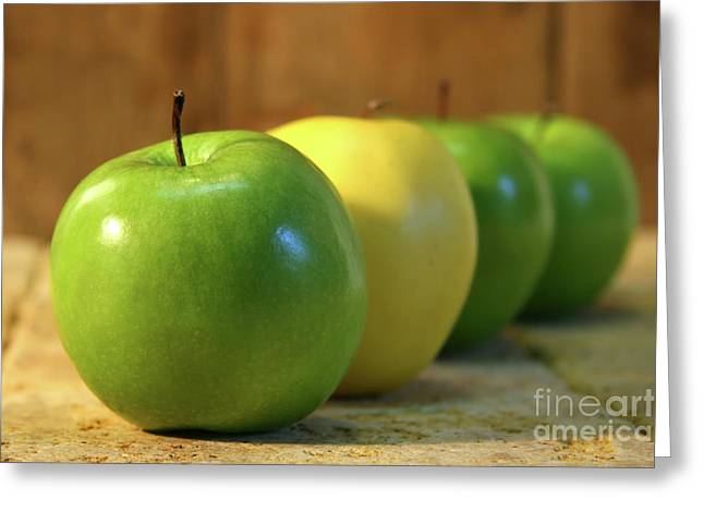 Green And Yellow Apples Greeting Card by Sandra Cunningham