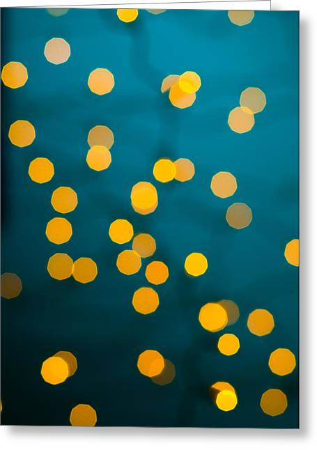 Green Background With Gold Dots  Greeting Card