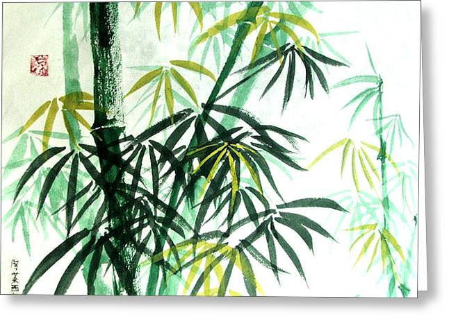 Greeting Card featuring the painting Green Bamboo by Alethea McKee