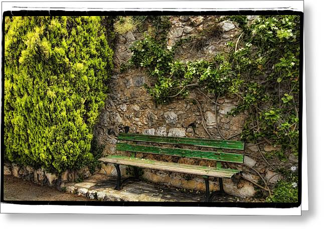 Green Bench Greeting Card by Mauro Celotti