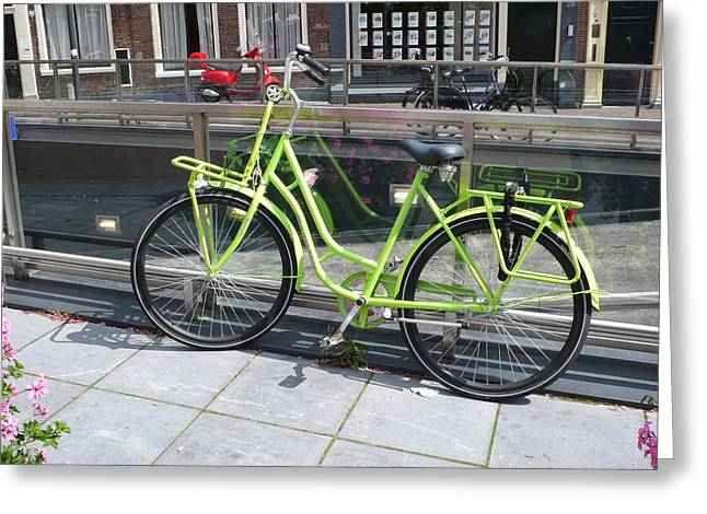 Green Bike Haarlem Holland Greeting Card by Gregory Smith
