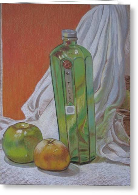 Green Bottle And Fruit. Greeting Card by Meera Raman