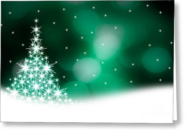 Green Christmas Tree Illustration Greeting Card by Kati Molin