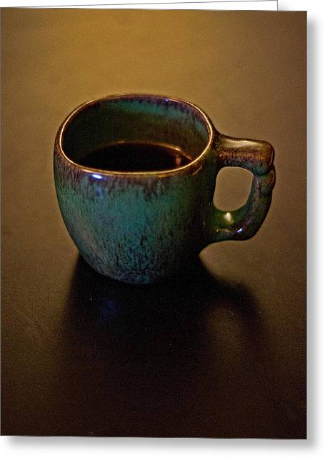 Greeting Card featuring the photograph Green Cup Of Coffee by Randall  Cogle