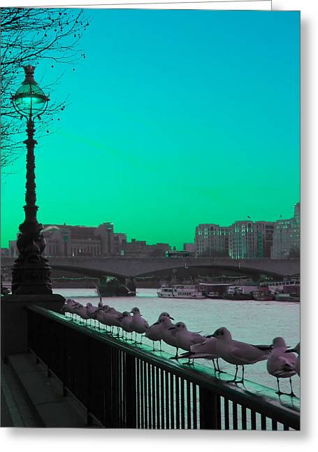 Green Day In London Greeting Card by Jasna Buncic