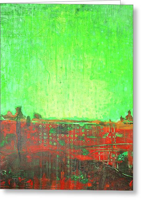 Greeting Card featuring the painting Green Day by Lolita Bronzini
