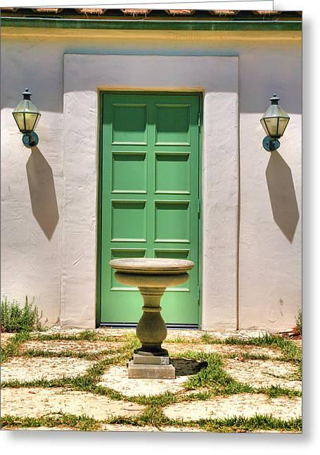 Green Door And Birdbath Greeting Card