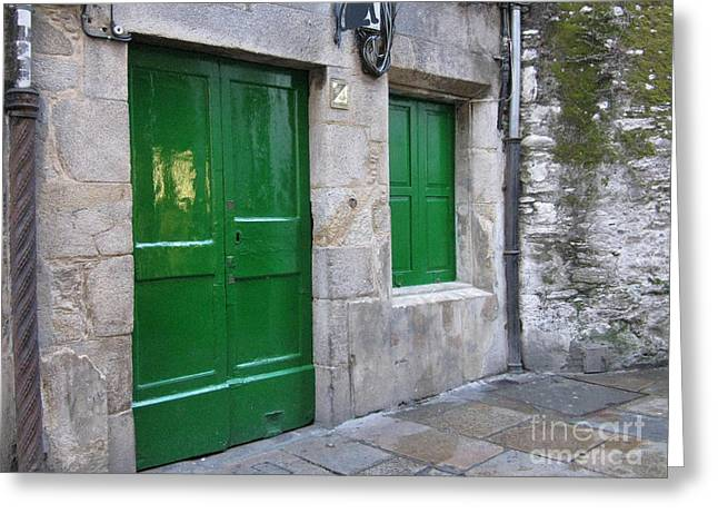 Greeting Card featuring the photograph Green Door by Arlene Carmel