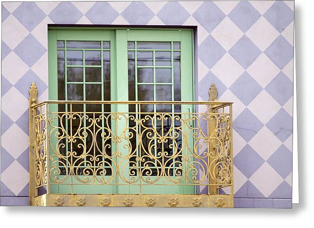 Green Doors Greeting Card by Kate Purdy