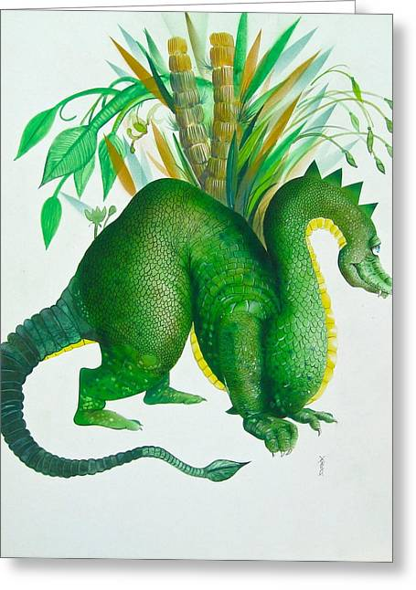 Green Dragon Greeting Card by Richard Yoakam