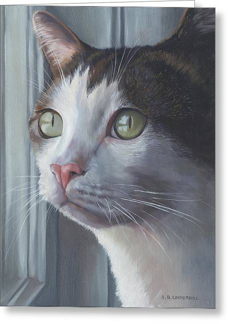 Green Eyed Cat Greeting Card