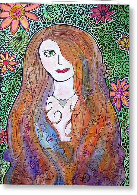 Green Eyed Girl Greeting Card by Jo Claire Hall