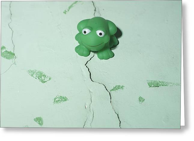 Green Frog Greeting Card by Bernard Jaubert