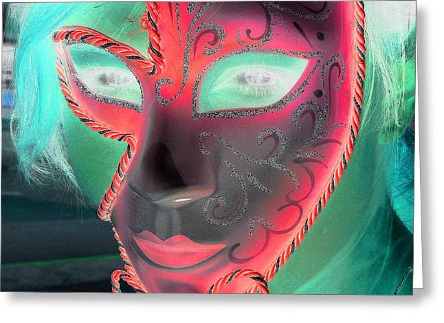 Green Girl With Red Mask Greeting Card