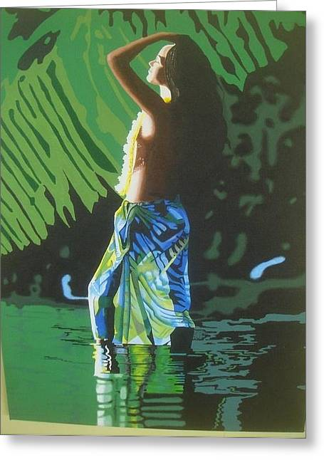 Green Goddess Greeting Card by Alix Barker