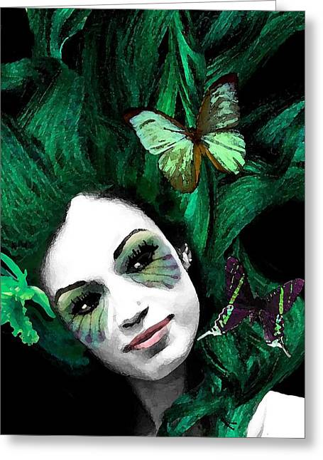 Green Goddess Greeting Card by Diana Shively