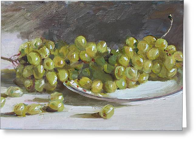 Green Grapes  Greeting Card by Ylli Haruni