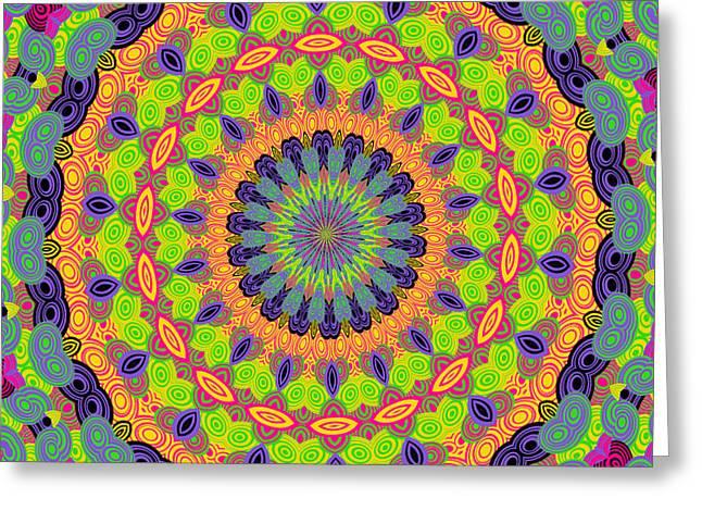 Green Kalidescope Greeting Card by Rosalie Scanlon