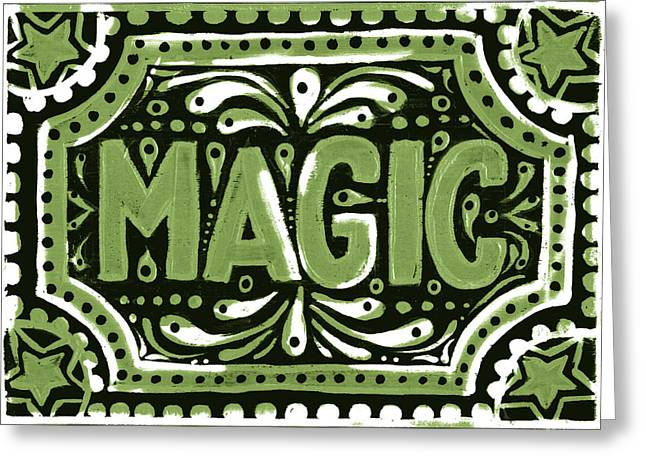 Greeting Card featuring the painting Green Magic by Nada Meeks
