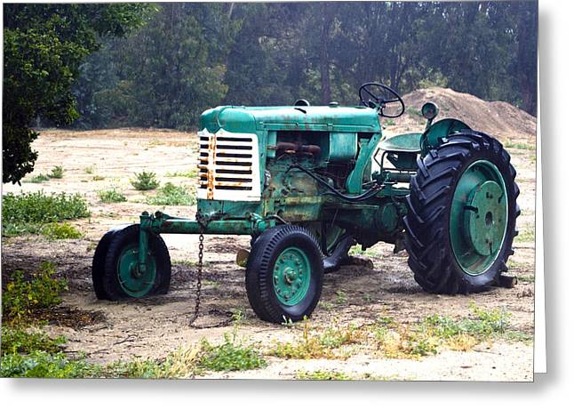 Green Oliver Tractor Greeting Card