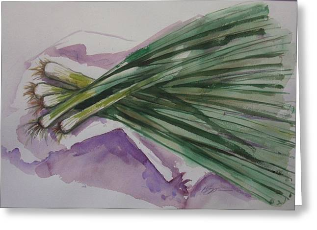 Green Onions Greeting Card by Barbara Spies