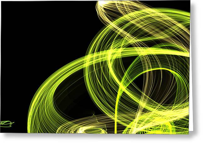 Green Over Black Greeting Card by TanyDi Tany Dimitrova