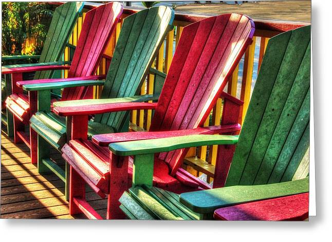 Green Red Green Red Green Chair Greeting Card by Michael Thomas