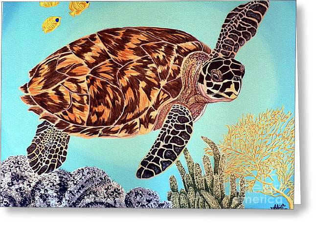Green Seaturtle 1 Greeting Card by Nanci Fielder