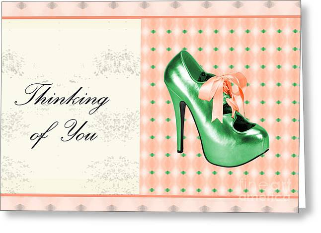 Green Shoe Thinking Of You Greeting Card
