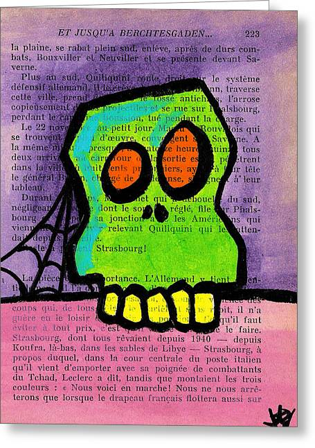 Green Skull Greeting Card by Jera Sky