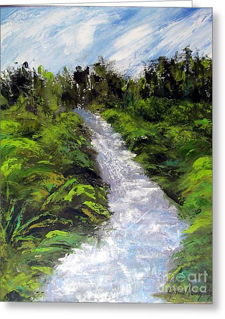 Greeting Card featuring the painting Green Spaces by Cynthia Parsons