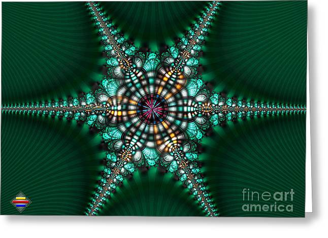 Green Starone Greeting Card by Vidka Art