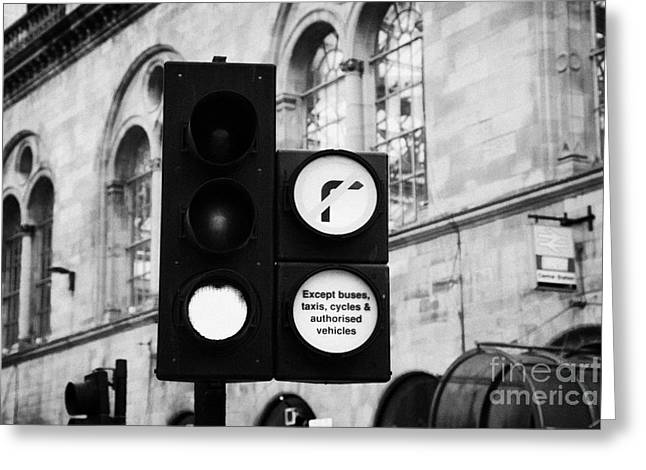 Green Traffic Light Signal With No Right Turn Except Buses Taxis Cycles And Authorised Vehicles Glas Greeting Card