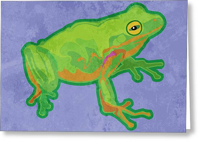 Green Tree Frog Greeting Card by Mary Ogle
