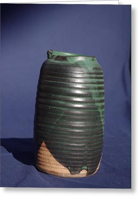 Green Vase Greeting Card by Rick Ahlvers